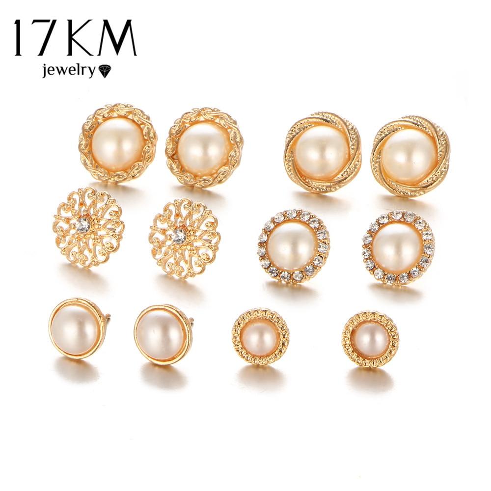 17KM arany színű virág üreges fülbevaló Vintage kristályszimulált gyöngy fülbevaló szett Női esküvői ékszerek 6 pár / szett