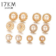 17KM Gold Color Flower Hollow Stud Earring Vintage Crystal Simulated Pearl Earrings Set For Women Wedding Jewelry 6 Pairs/Set(China)