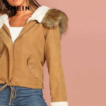 SHEIN Khaki Casual Drawstring Hem Pocket Faux Fur Zipper Up Hooded Jacket Autumn Thermal Leisure Women Coat And Outerwear