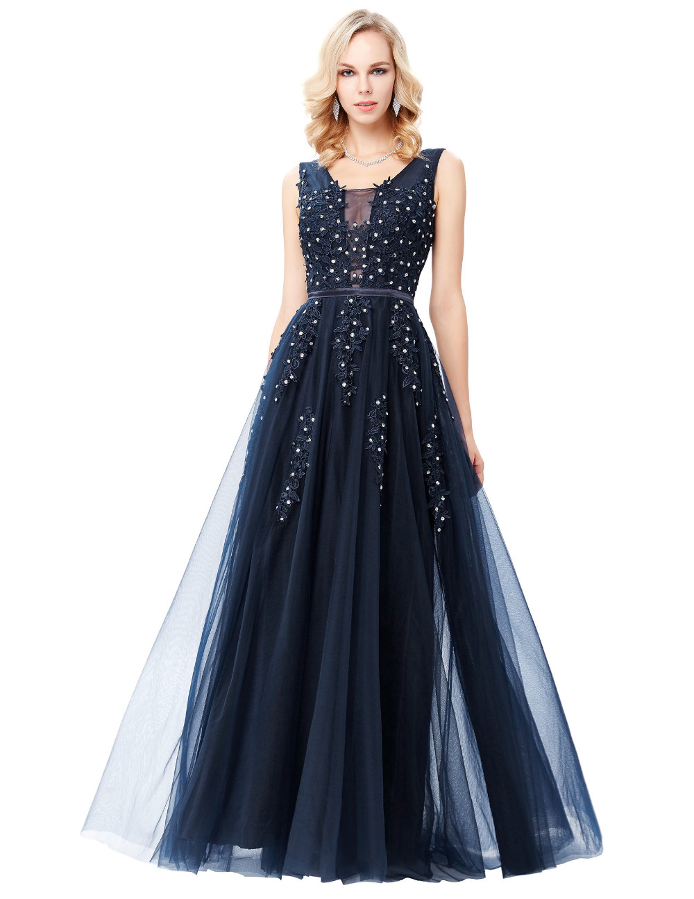 Grace Karin Tulle Appliques Celebrity Prom Dress Sexy V Back Sleeveless Long Royal Blue Robes De Soiree 2017 Longue Prom Dresses 9