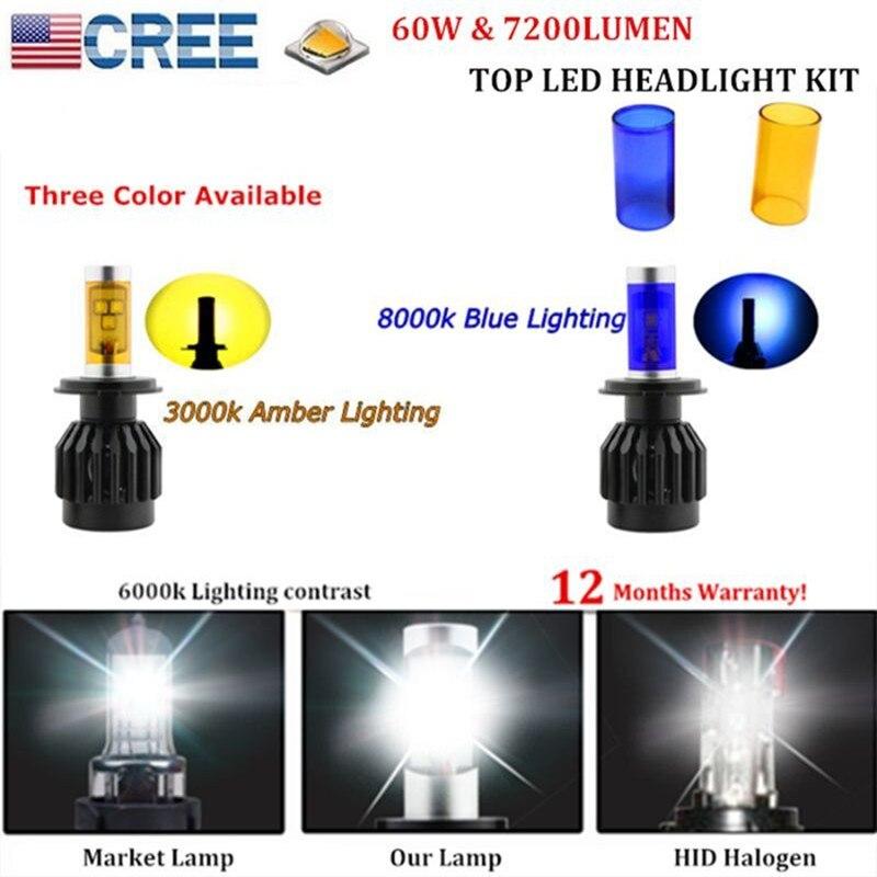 60W 7200lm CREE LED Headlight Conversion KIT H4 HI/LO Dual Beam White Amber Blue Light (H7 H11 9005 9006 H13 9004 9007 Available