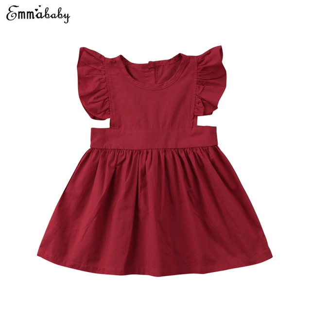 a561a379bd4 Newborn Kids Baby Girls Dress Sleeveless Party Pageant Tutu Formal Dress  Red Sundress Clothes Summer Pleated Dresses For Girl