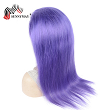 hot deal buy sunnymay light purple color full lace human hair wigs straight mink virgin hair full lace wig pre plucked natural hair line