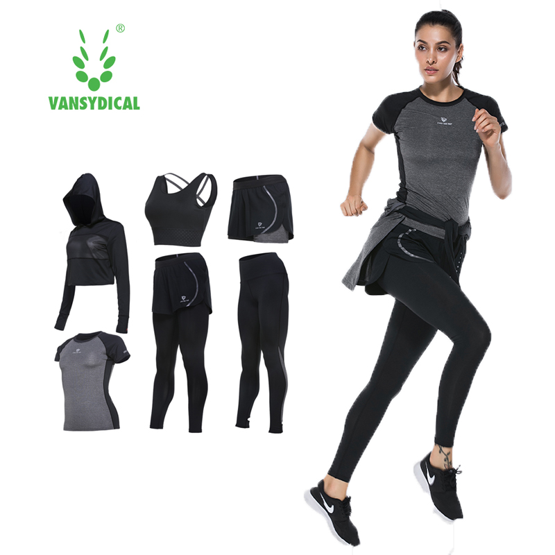 Vansydical Suits Women Sportswear Female Sports Trousers Fitness Gym Running Sets Quick Dry Gym Clothes Suit 6pcs fitness running sports shirt women yoga sets two pieces breathable suit compression high quality quick drying gym sports suits