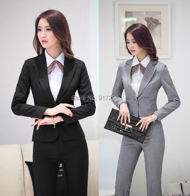 Novo 2015 outono inverno terninhos formais uniforme estilo negócios trabalho usam ternos jaquetas e calças calças escritório Blazers definir