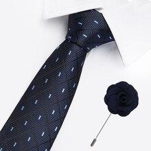 42 Styles Ties for Men Wedding Party Woven Jacquard Gravatas Silk 7.5cm Width Fashion Mens Corbatas and free brooch