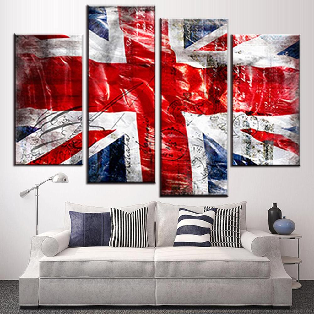 4 Pcs/Set Still Live British Flag Wall Art Picture Modern Combined Union Jack Wall Art P ...