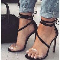 2018 Sexy Gladiator Sandals Women Crystal PVC Jelly Open Toe Thin High Heels Sandals Cross Tie