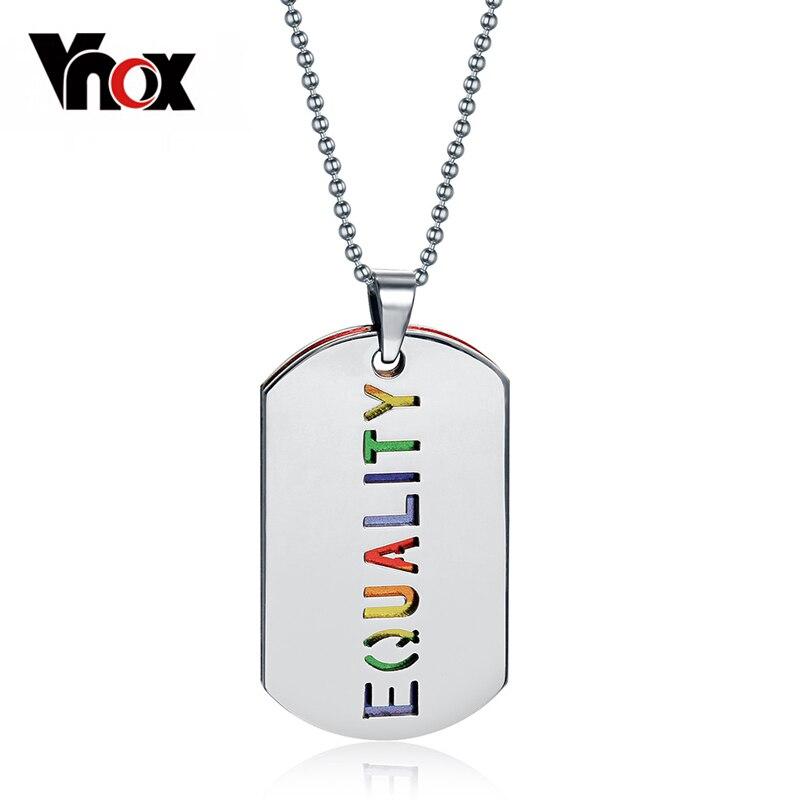 Prix pour Vnox Double Couche LGBT Collier Pendentif En Acier Inoxydable L'égalité Arc-En-Femmes Parti Bijoux Chaîne Gratuite