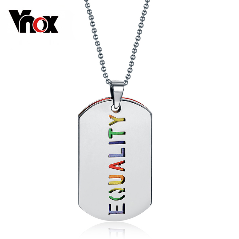 Vnox Double Layer LGBT Necklace Pendant Stainless Steel Equality Rainbow Women Party Jewelry Free Chain equality