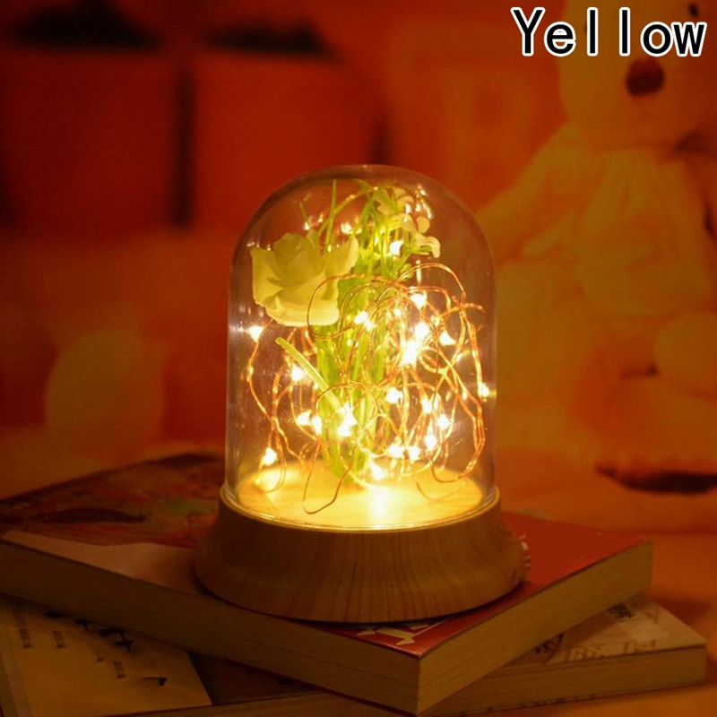 New Yellow LED Fire Tree Silver Flower Romantic Glass Cover Bedroom Desk Night Light Lamp Wholesale Free Shipping nice Gifts