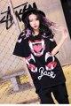 Melinda Estilo 2017 nueva primavera mujeres camiseta de manga corta floja impresión de la letra de patrón envío libre superior