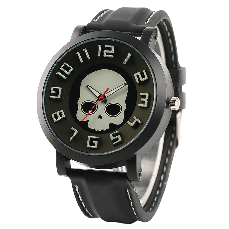 Black Silicone Band Fashion 3D Skull Dial Men Wrist Watch Casual Military Sport Watches Steampunk Style Male Clock Gift fashion silicone band round mirror dial blue led light wrist watch black 1 x cr2016