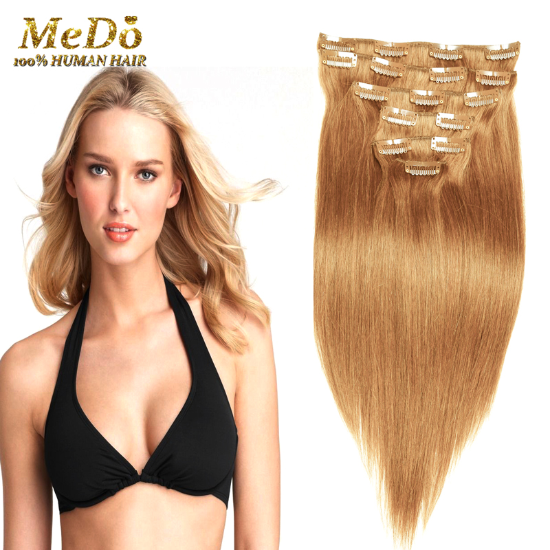 Clip In Human Hair Extensions Blonde Color 7 8 10 Pieces 70g 100g