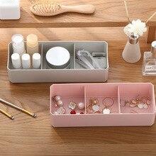 1 pçs organizador de maquiagem simples 3 grade caixa de armazenamento cosméticos artigos diversos caixas de acabamento dustproof algodão cotonete almofada organizador