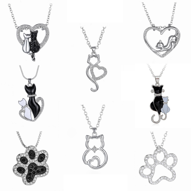 Cute Cat Pendant Necklace Heart Shaped Cat Lover Crystal Rhinestone Black and White Paw Pet Necklace Valentine's Day <font><b>BFF</b></font> Jewelry image