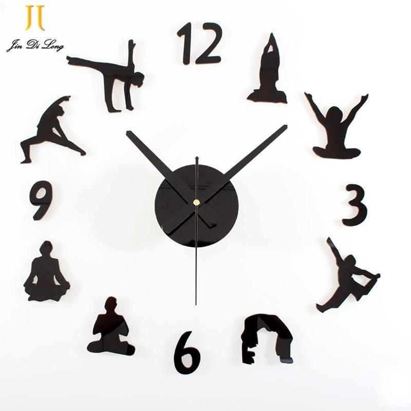 Low Price Clearance Sale Yoga DIY Wall Clock Acrylic Wood