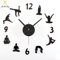 Low Price Clearance Sale Yoga DIY Wall Clock Acrylic Wood Material Wall Clock Mute Sweep Movement Wall Clock Wall Stickers