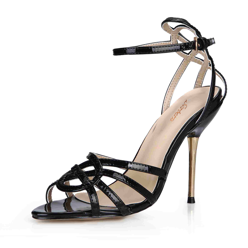 Sorbern Black Ladies Shoes Woman Sandals Gold Metal High Heels Ankle Straps Open Toe Summer Sandals Open Toe Heels Plus Size ephemeral ladies zip sandals with heels buckle strap open toe summer casual shoes woman spongy insole plus size 11 12 white pink