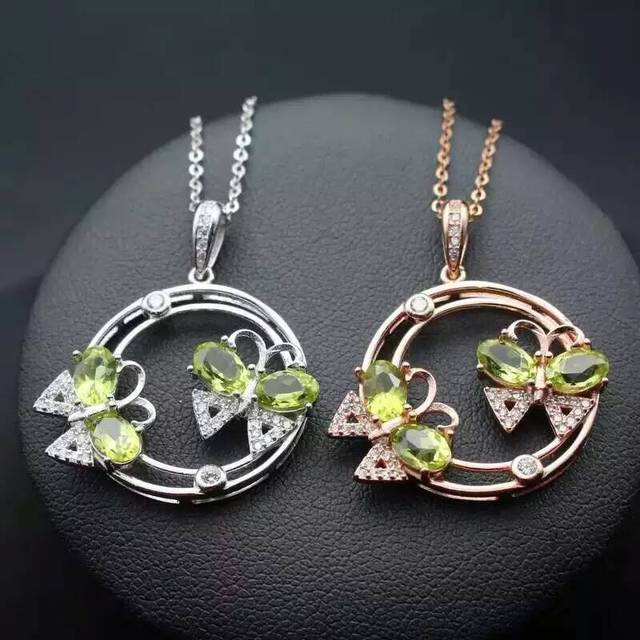 natural green peridot pendant S925 silver Natural olivine Pendant Necklace trendy  Double butterfly women party girl jewelry