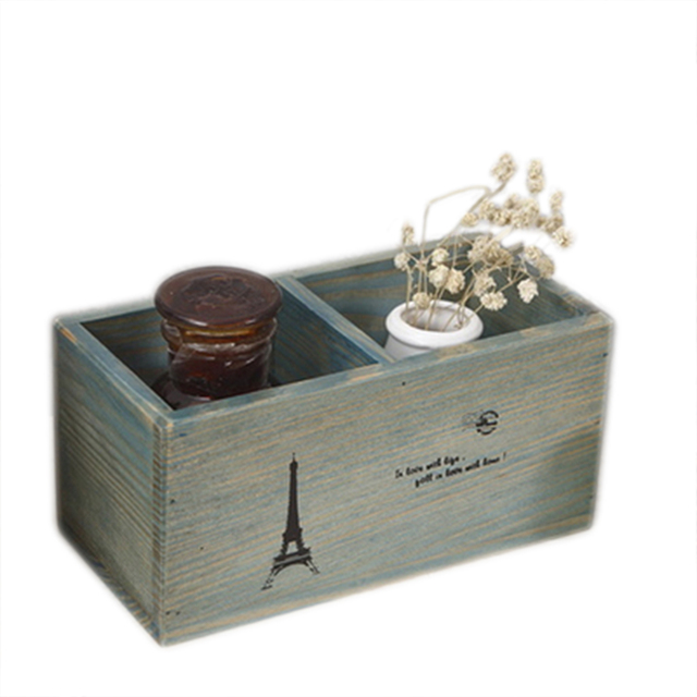 2 Slot Zakka Vintage Wooden Storage Box Makeup Jewelry Organizer