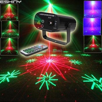 ESHINY Mini Remote R&G Laser 64 Patterns Projector Gobo Bar DJ Dance Disco School Home Party Effect Lighting Light Show N6T137