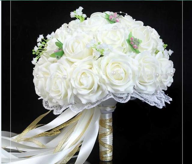 2017 dama de Honor Nupcial de La Boda Bouquet Barato Nueva Llegada WhiteHandmade Artificial Flores de La Boda Ramos de Novia
