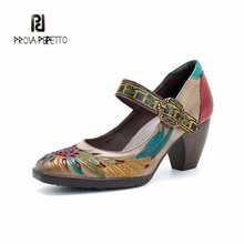 Prova perfetto Retro Pumps Women Shoes Genuine Leather Buckle Mary Jane Shoes Heels Summer Spring Vintage Wedding Lady Pumps