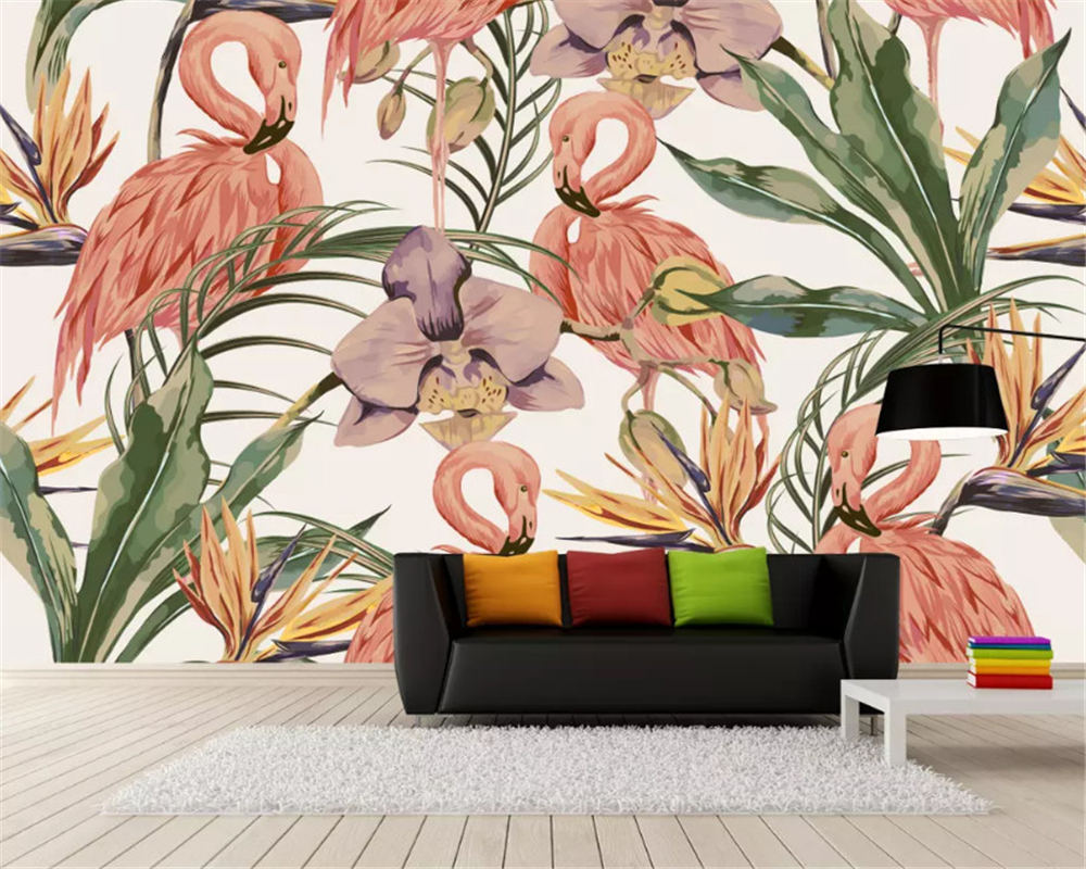 beibehang Custom size Modern classic wall paper simple tropical rainforest flamingo fashion interior background wallpaper behang