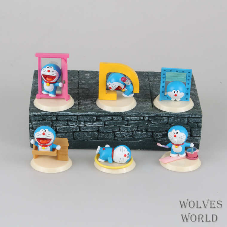 6pcs/set Doraemon Scenes Anime Action Figure Collection toys for christmas gift Free shipping with retail box AnnO0027DOM