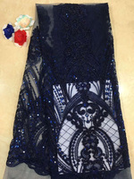 (5yards/pc) navy blue French net lace fashion African tulle lace fabric with embroidery and beads for making dress FZZ054