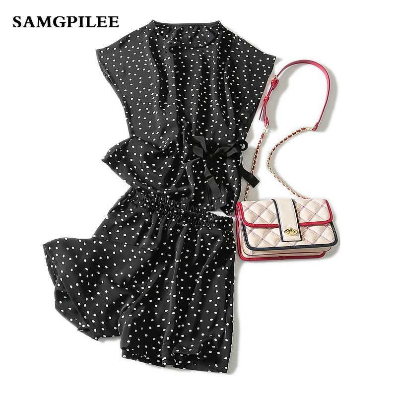 2019 New Arrival summer Samgpilee Short sleeve Casual Pullover O-neck Batwing Sleeve Elastic Waist Polka Dot Shorts women set