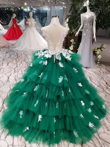 Image 2 - LSS152 Contrasting Sexy Backless Avocado Gree Evening Dresses 2020 High Neck Appliques Sleeveless Tiered Cake Party Dress платье