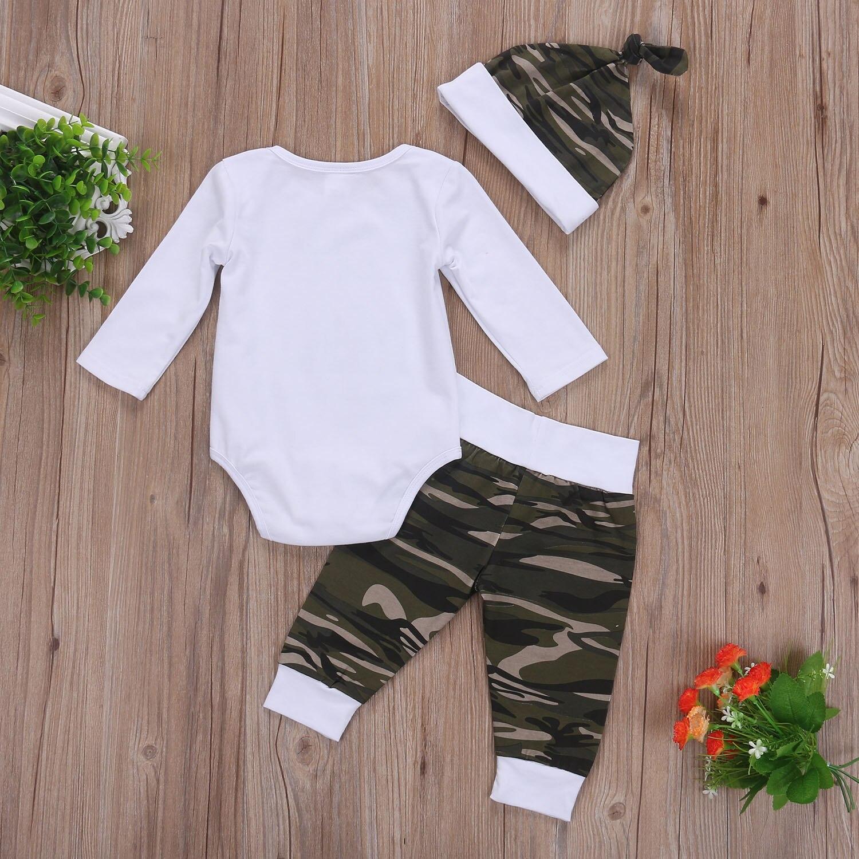 3 Pcs Newborn Toddler Baby Boys Camo Clothing Set Babies Letter