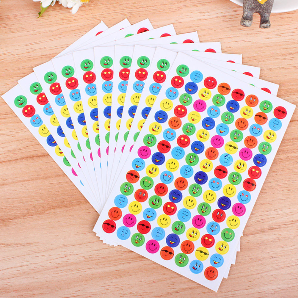 1120pcs Smile Face Paper Lable Classic Kawaii Sticker 10 Sheets/Set Reward Stickers School Teacher Merit Praise Class Sticky
