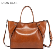 Didabear bolsas de couro de luxo das mulheres grande bolsa feminina bolsas femininas sacos de ombro casuais senhora sorriso rosto mensageiro saco