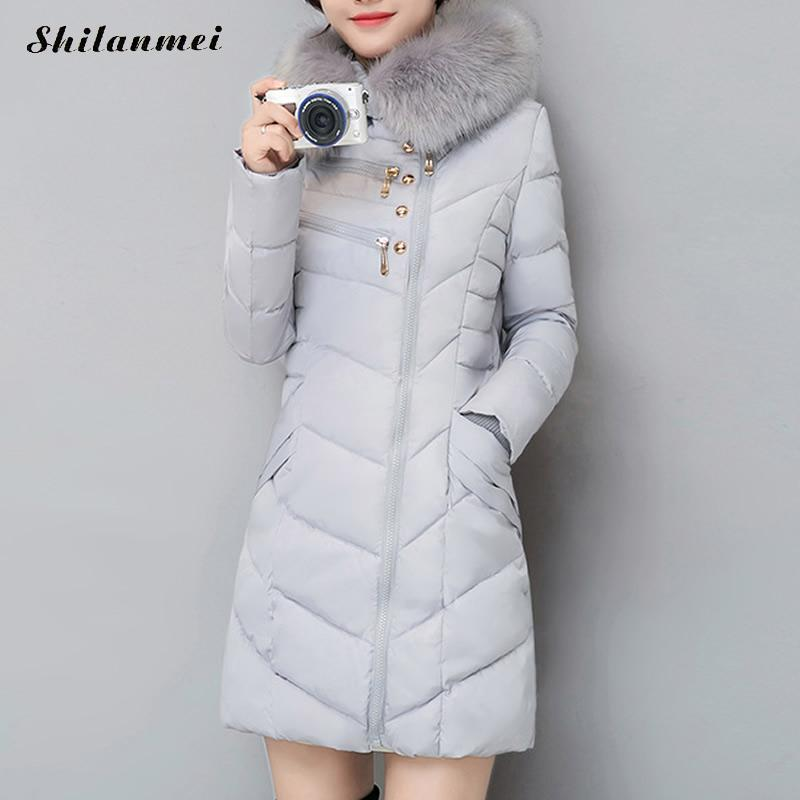 2018 Winter Warm Plus Size Women   Down     Coat   with Fur Hoodies mid-Length Slim Fit Outerwear   Coats   Parka Jacket Fashion style 3XL