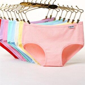 Image 1 - 6 Stuks Katoenen Meisjes Ondergoed Solid Lage Taille Korte Slips Comfortabele Antibacteriële Vrouw Slipje 100% Merk