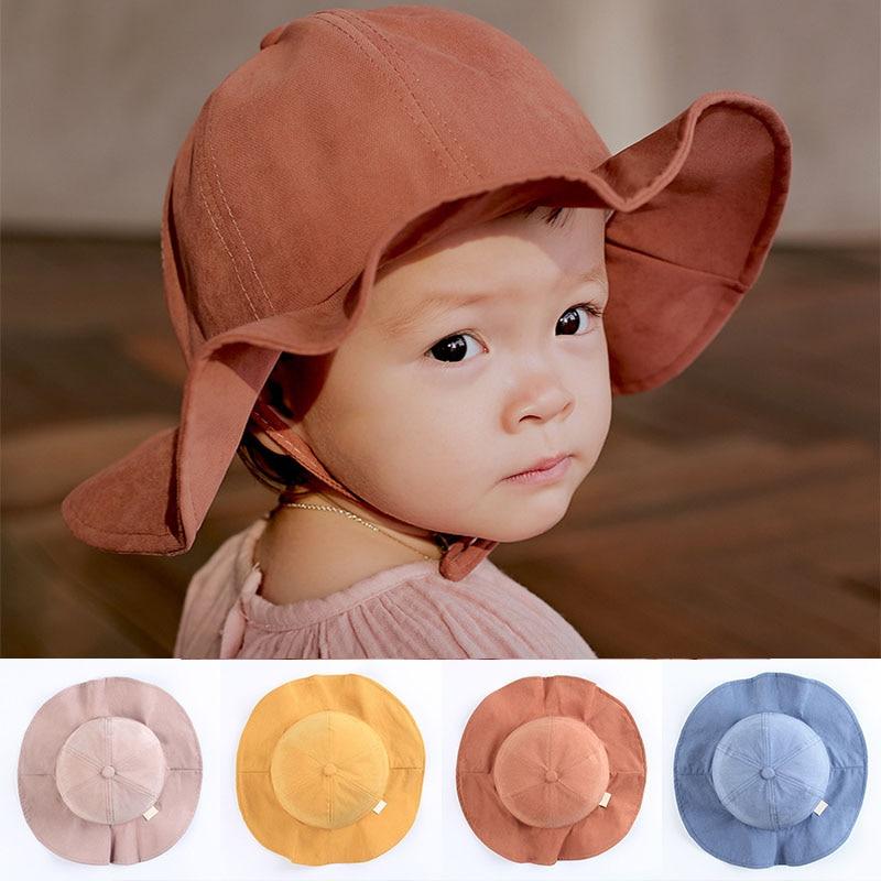8089e0ce27f Soild Color Baby Sun Hat Children Floral Print Panama Cap Summer Outdoor Baby  Girl Bucket Hat