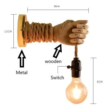 Nordic Henneptouw Wandlamp Hand 5