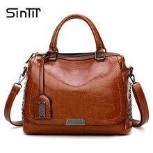SINTIR Designer Brand Oil Wax Leather Women Handbags Fashion Rivet Sequined Ladies Shoulder Bags Messenger Bag Female Travel Bag
