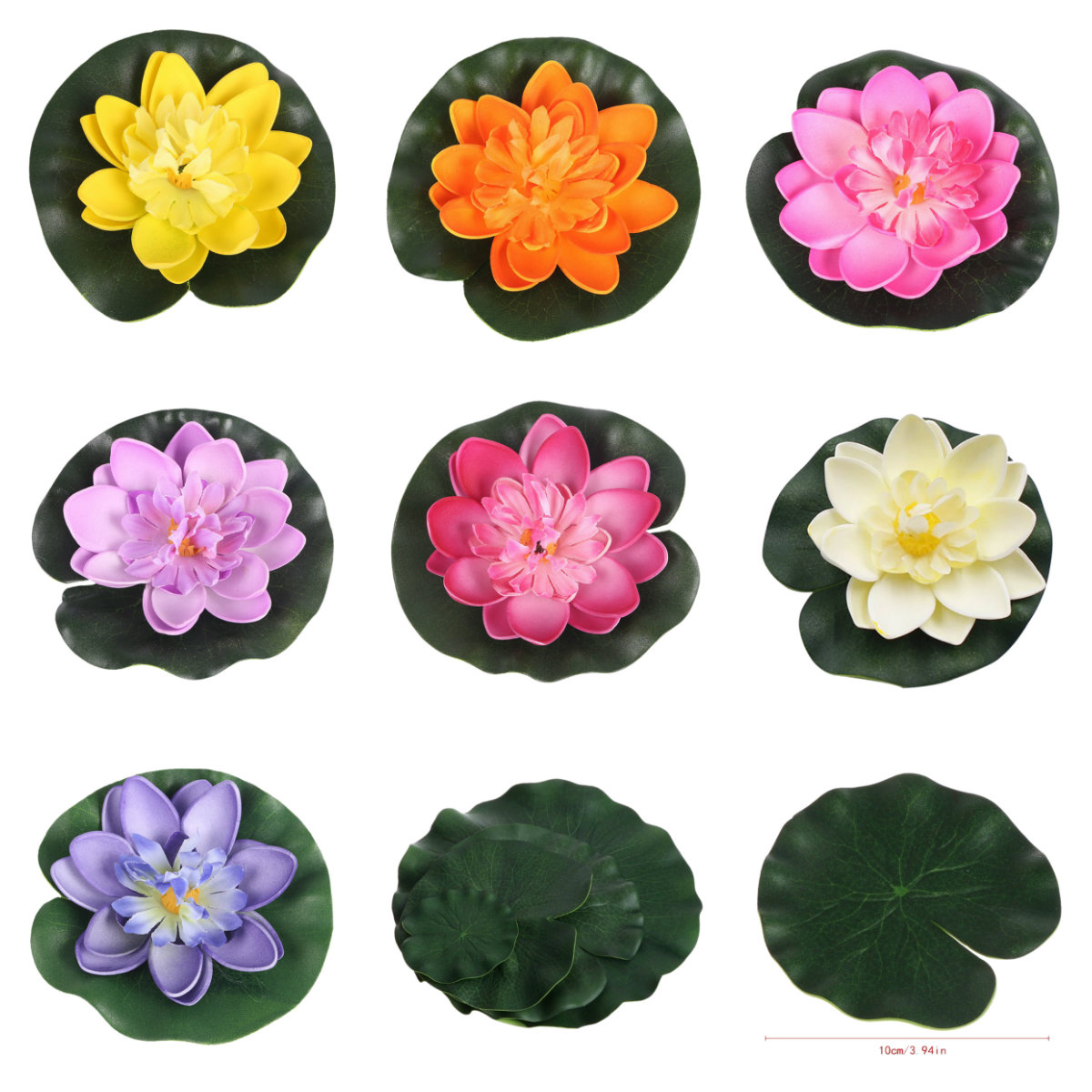 1PCS 10CM Decor Garden Artificial Fake Lotus Flower Foam Lotus Flowers Water Lily Floating Pool Plants Wedding Garden Decoration