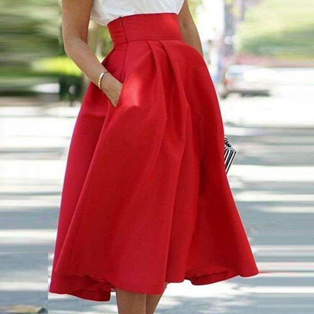 725b5dec646 2017 Skirts Womens Saia Faldas Maxi Vogue Women's High Waist A-Line Long  Full Skirt Cocktail Party Pleated Skirt
