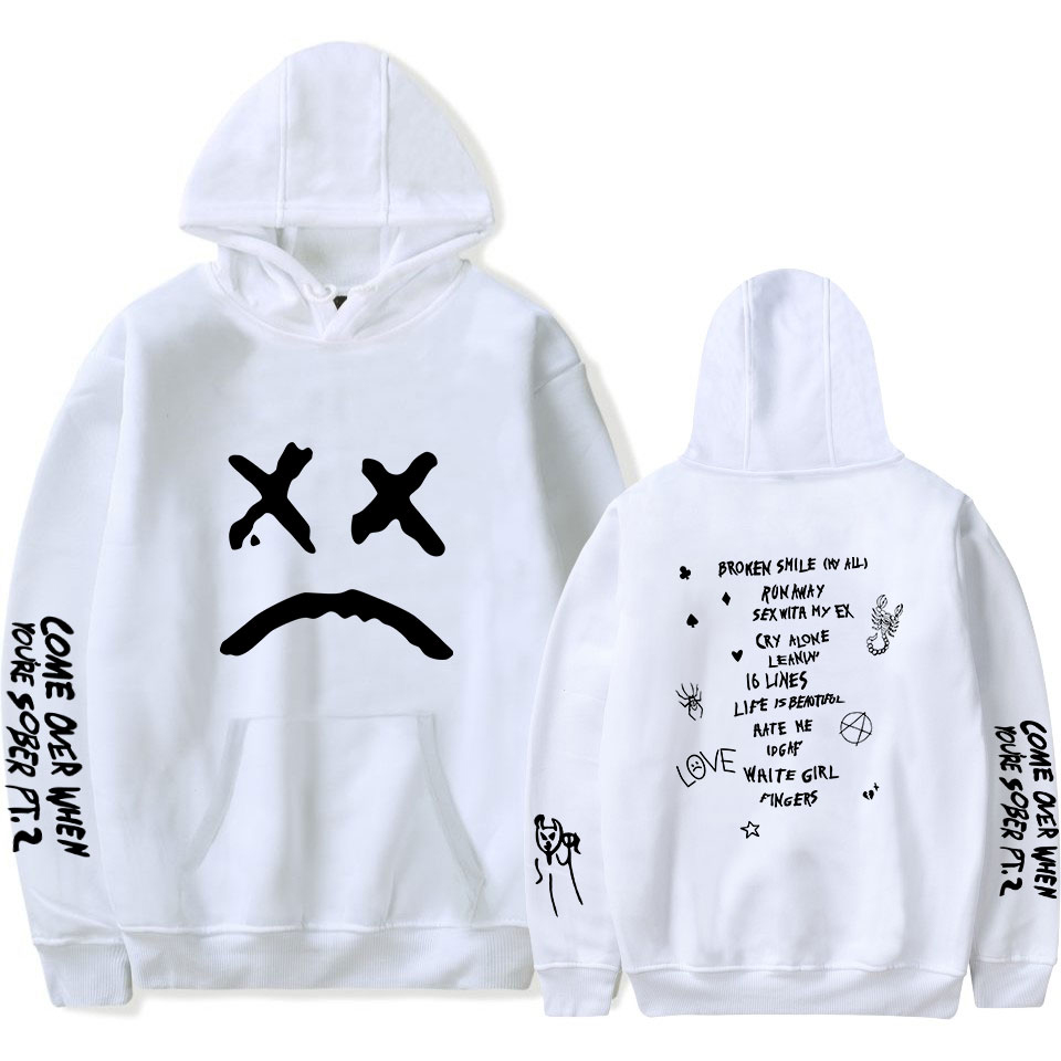 Hot New Men Hoodie Lil Peep Print Keep Warm Women White Hoodie Leisure Boy/Girl Soft Cotton Smiley Face Print Sweatshirts