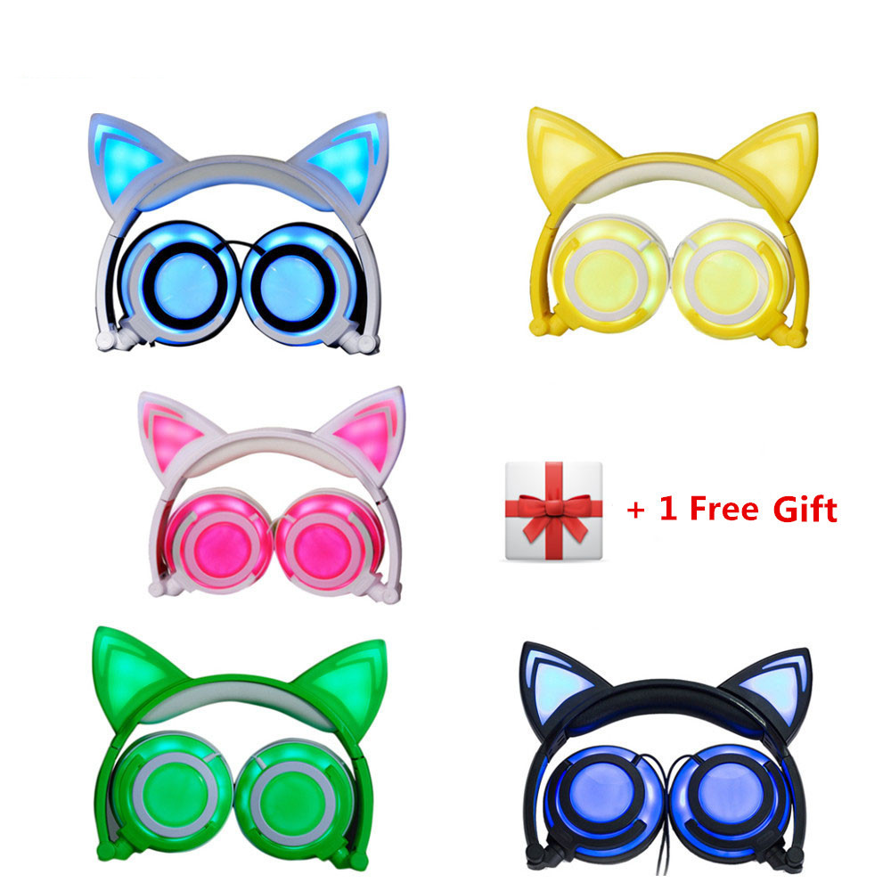 Cat Ear Earphones Cat headphones with LED Flashing Glowing Light Gaming Headset for PC laptop Computer and Mobile Phone foldable bear ear recharging headphones panda gaming headset with glowing led light halloweeen gift for girls kids adults phones