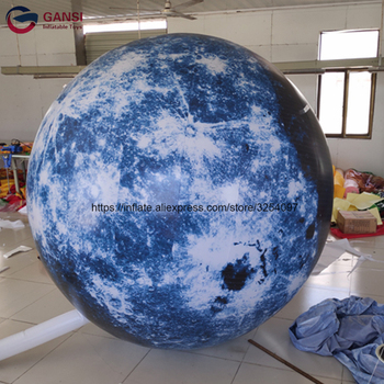 Advertising moon globe shape inflatable led light helium balloon giant inflatable moon balloon for decoration decoration inflatable bulb with light