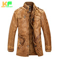 2016 Winter Stand Collar Warm Mens Leather Jacket Men Motorcycle Pilot Jackets Faux Fur Coats Male PU Leather Coat MLS1601