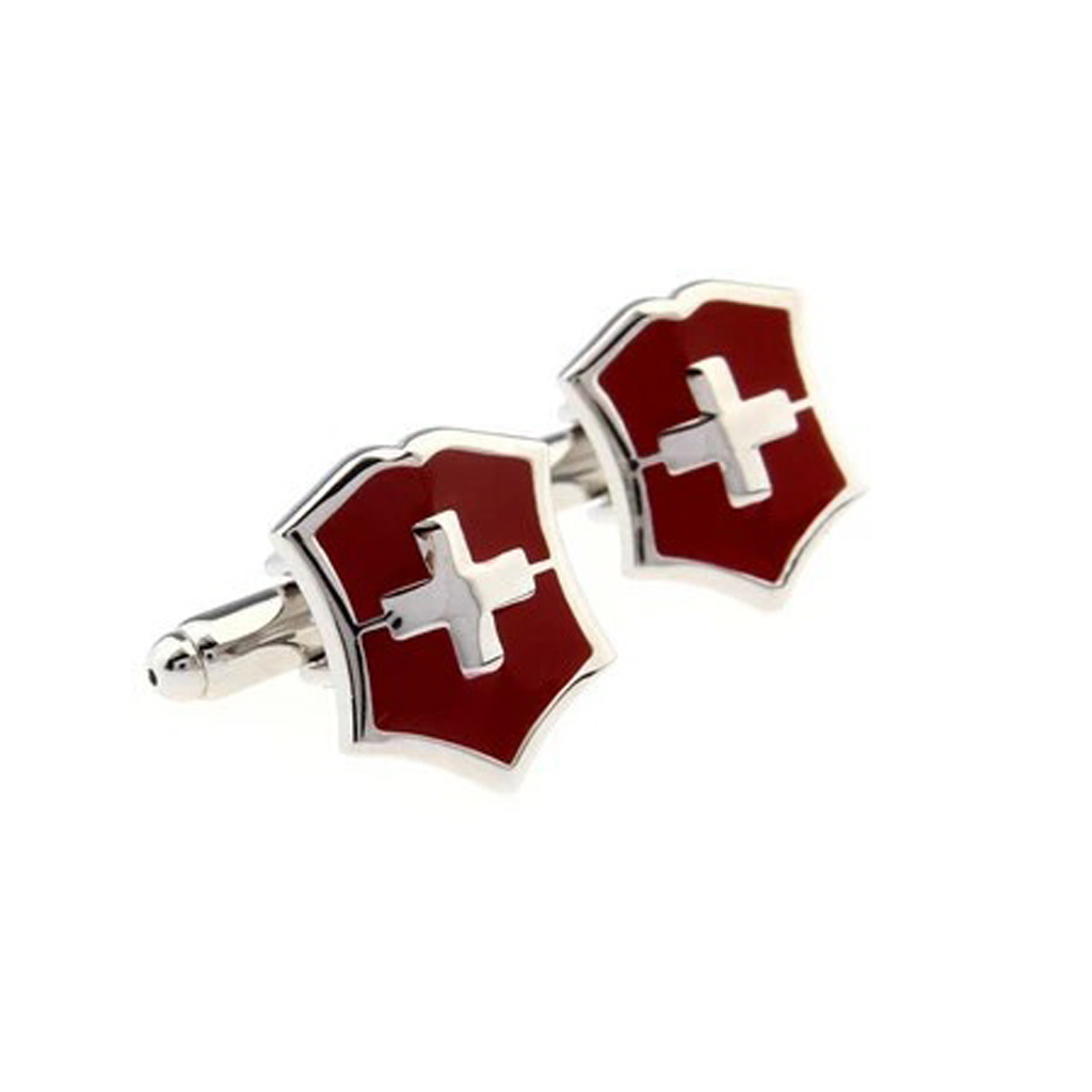 Unique Red Swiss Flag Men Shirt Cufflinks Party Gifts Charm Cross Cuff Links