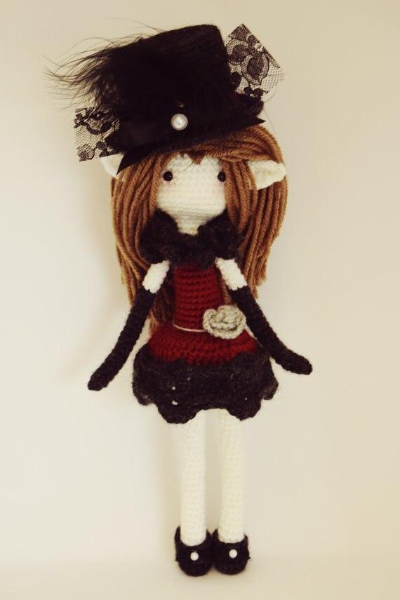 Amigurumi Crochet poupée jolie fille hochet jouet, mode, charmant, attendez vous