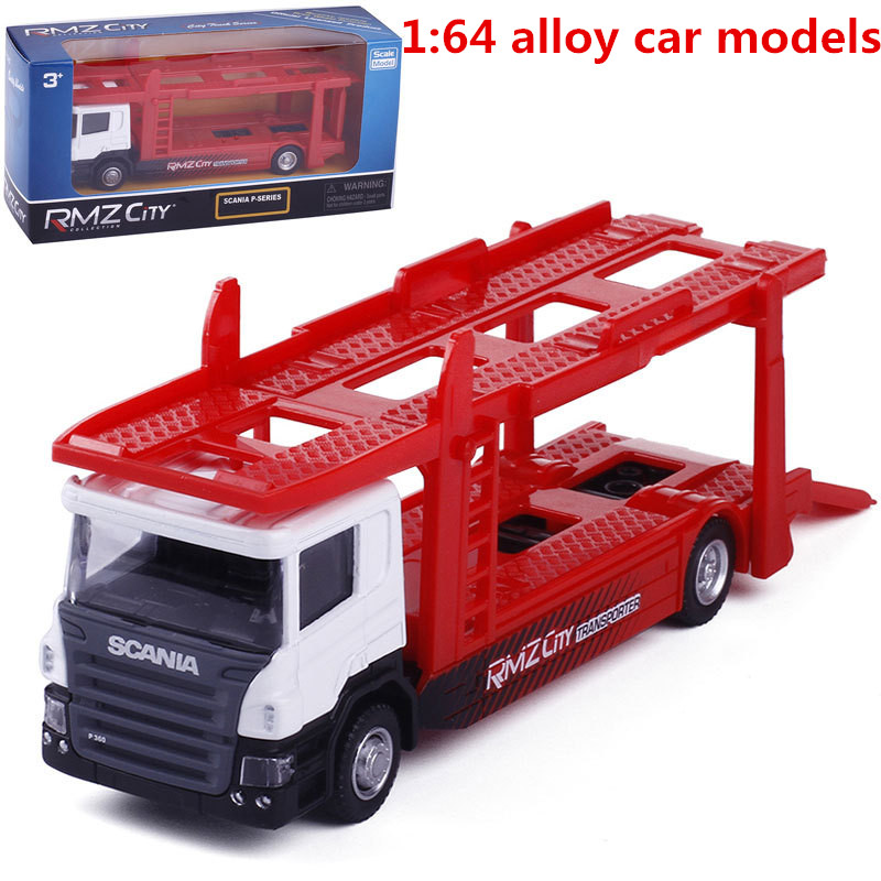 1:64 Alloy Car Models, Semi - Trailer Carrier Toy Vehicles,metal Diecasts,Inertial Taxiing Toys,educational Toys,free Shipping